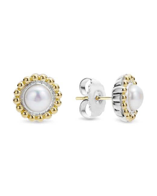 Lagos | Orange Sterling Silver And 18k Gold Stud Earrings With Cultured Freshwater Pearl | Lyst