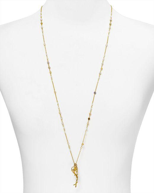 "Chan Luu | Metallic Beaded Pendant Necklace, 34"" | Lyst"