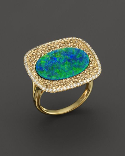 Meira T | Blue 14k Yellow Gold Opal Square Ring With Diamonds | Lyst