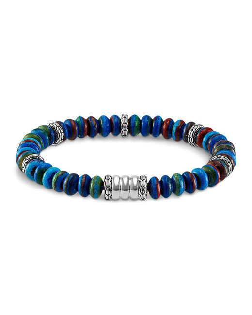 John Hardy | Blue Men's Bedeg Beaded Bracelet With Rainbow Calsilica for Men | Lyst