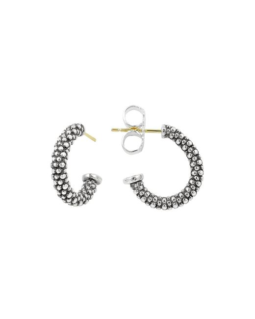 Lagos | Metallic Sterling Silver Caviar J Hoop Earrings | Lyst