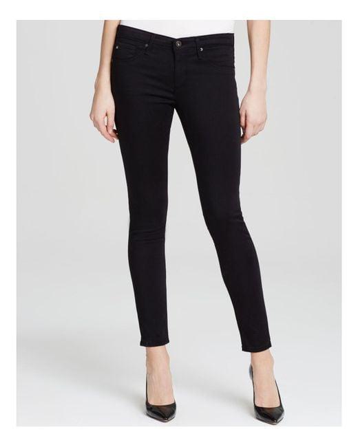 AG Jeans | Stretch Velvet Slim Crop Flare Jeans In Black | Lyst