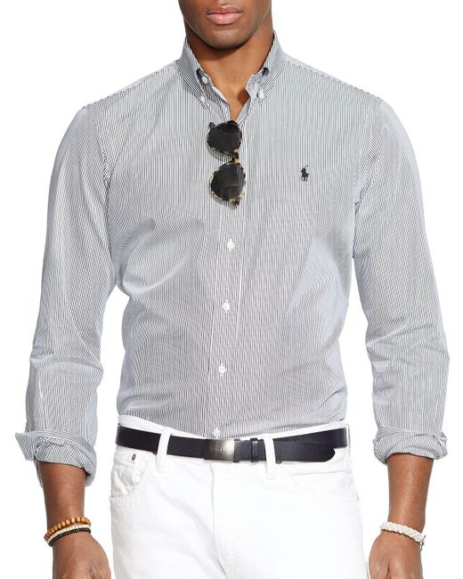 Polo Ralph Lauren | Black Hairline-striped Poplin Button-down Shirt - Classic Fit for Men | Lyst