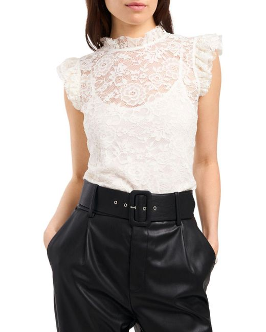 1.STATE White 1. State Lace Flutter Sleeve Blouse