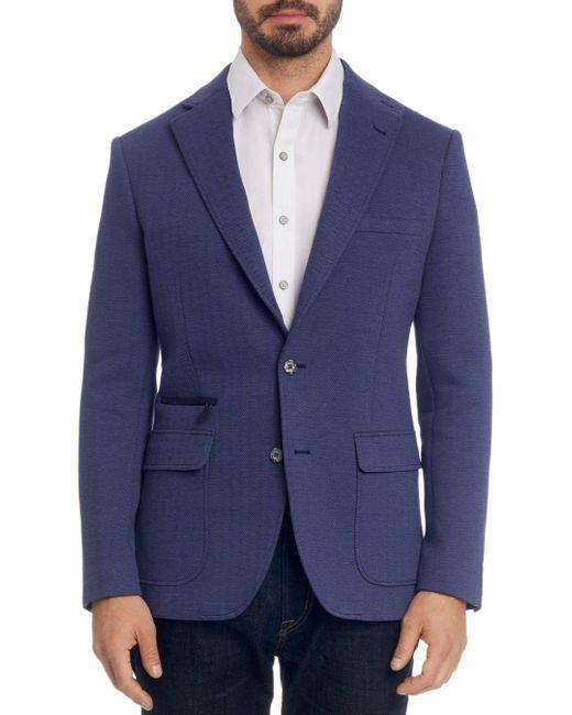 Robert Graham Blue Downhill Knit Classic Fit Sport Coat for men