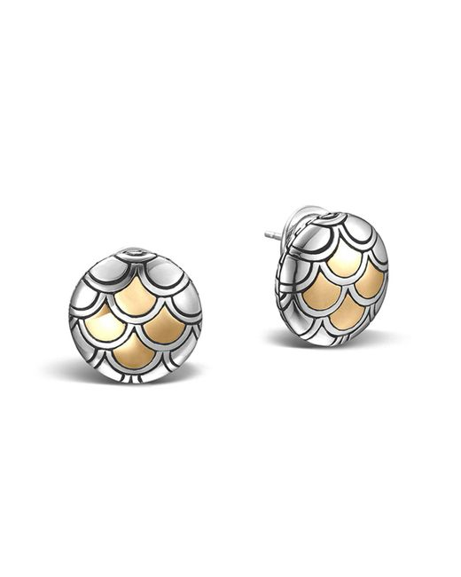 John Hardy | Metallic Sterling Silver & 18k Gold Naga Button Earrings | Lyst