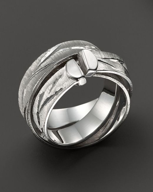 Roberto Coin | Metallic Sterling Silver Hammered Wrap Ring | Lyst