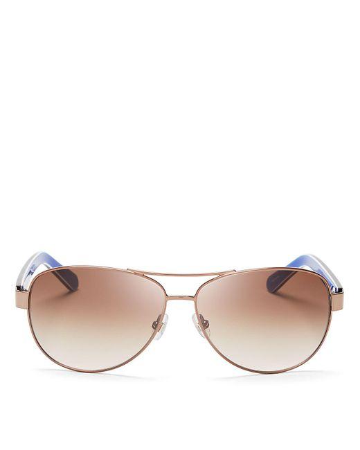 kate spade new york | Metallic Dalia Aviator Sunglasses, 58mm | Lyst