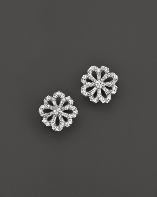 KC Designs | Metallic Diamond Flower Stud Earrings In 14k White Gold | Lyst