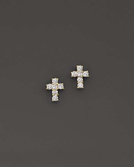 KC Designs | Metallic Diamond Small Cross Stud Earrings In 14k Yellow Gold | Lyst