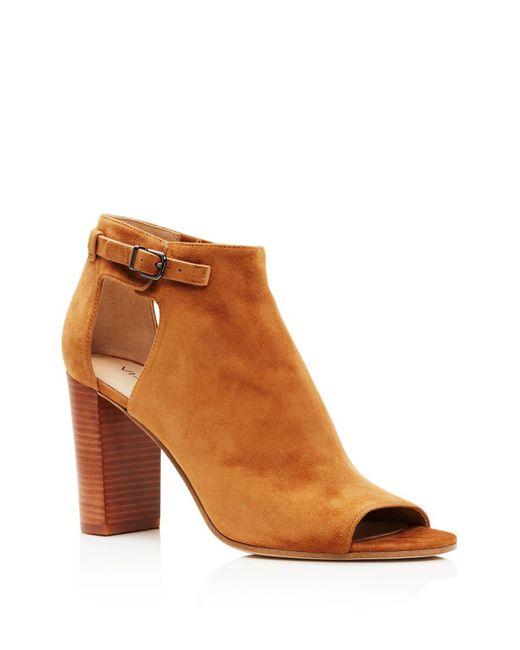 Via Spiga | Brown Giuliana High Heel Peep Toe Booties | Lyst