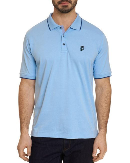 Robert Graham Blue Pixels Classic Fit Polo Shirt for men