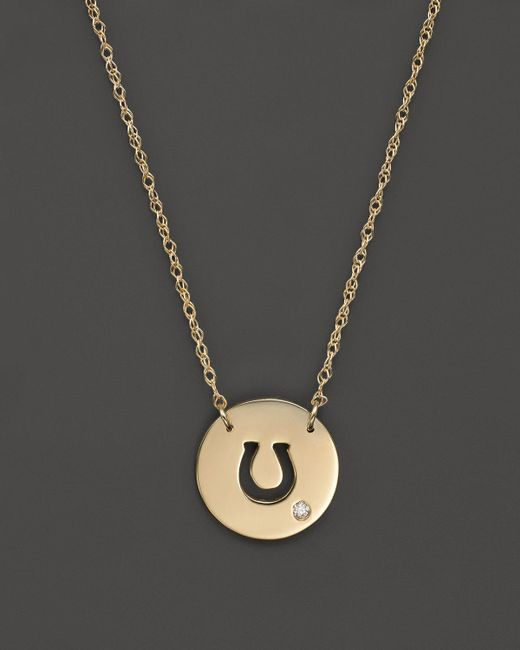 Jane Basch | Metallic 14k Yellow Gold Cut Out Horseshoe Disc Pendant Necklace, 16"