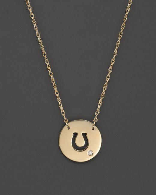 "Jane Basch | Metallic 14k Yellow Gold Cut Out Horseshoe Disc Pendant Necklace, 16"" | Lyst"