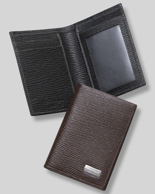"Ferragamo | Black Men's ""revival"" Credit Card Holder With Id Window for Men 