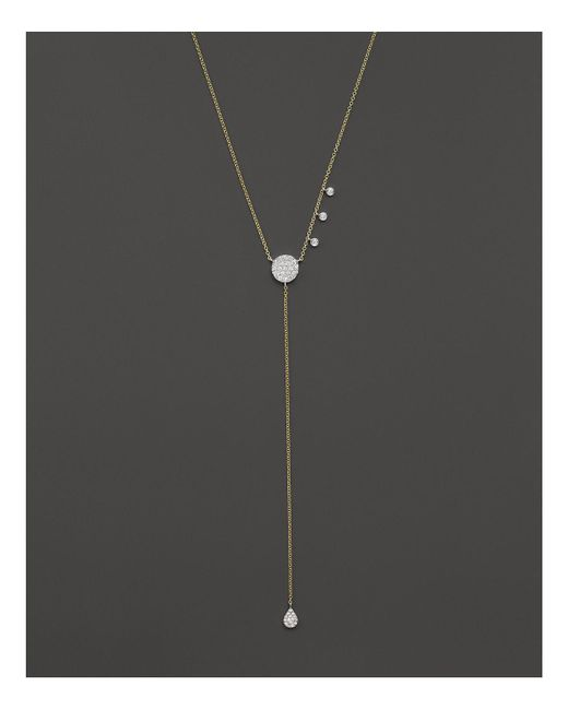 "Meira T | Metallic 14k Yellow Gold Disc & Teardrop Lariat Necklace With Diamonds, 18"" - 100% Bloomingdale's Exclusive 