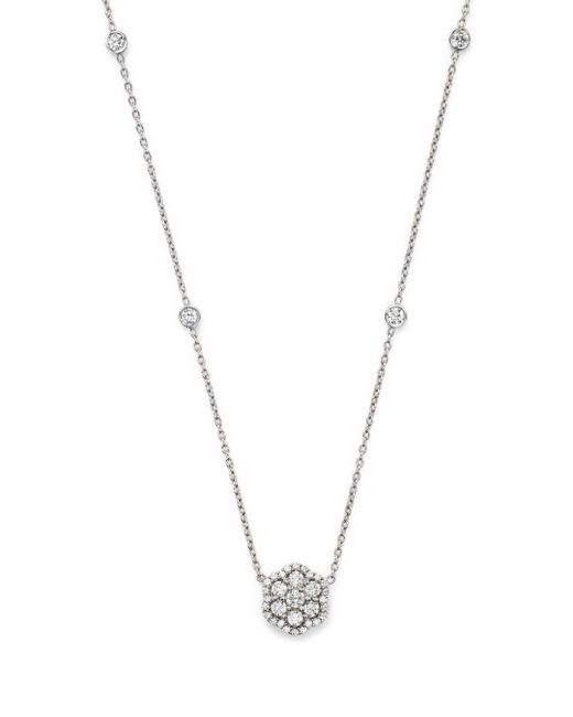 Bloomingdale's - Diamond Flower Pendant Necklace In 14k White Gold, .75 Ct. T.w. - Lyst