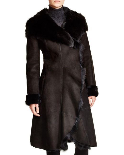 Maximilian - Black Maximilian Shearling Coat With Toscana Collar - Lyst