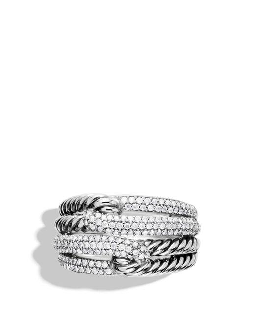 David Yurman Metallic Labyrinth Double - Loop Ring With Diamonds