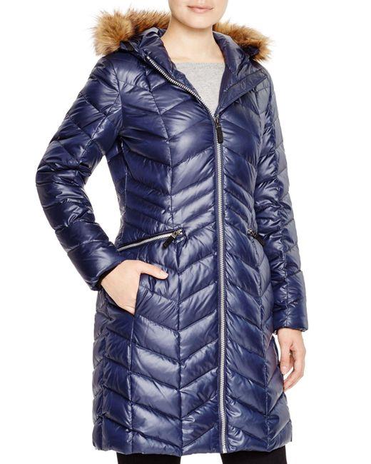 Marc New York   Blue Long Puffer Coat   Lyst