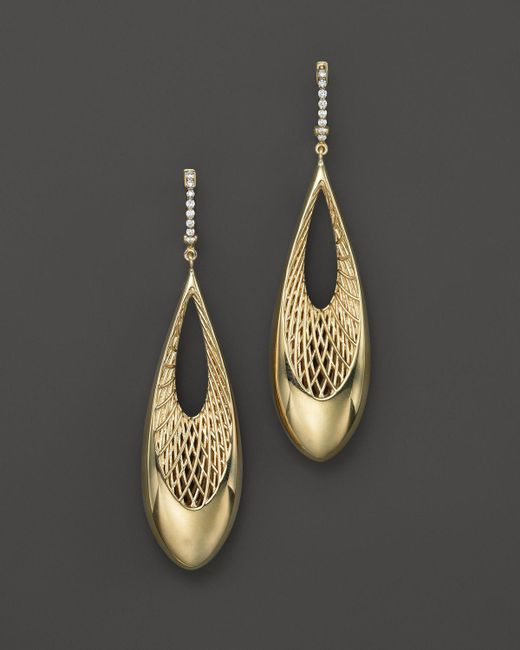 Roberto Coin | Metallic 18k Yellow And White Gold Diamond Teardrop Golden Gate Earrings | Lyst