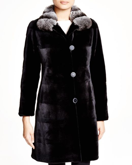Maximilian | Black Maximilian Sheared Mink Reversible Coat With Chinchilla Collar - Bloomingdale's Exclusive | Lyst