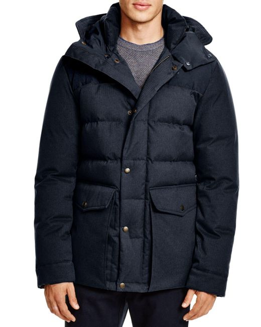 Cole Haan   Blue Mixed Media Hooded Down Jacket   Lyst