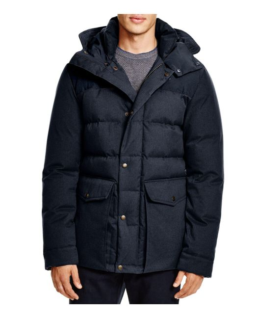 Cole Haan | Blue Mixed Media Hooded Down Jacket | Lyst
