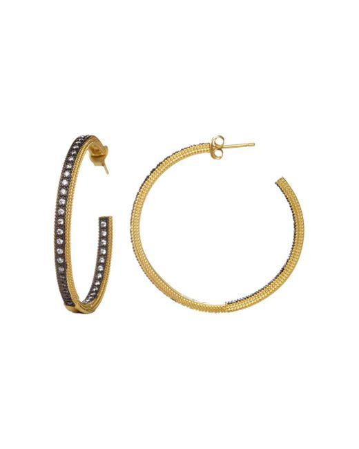 Freida Rothman - Metallic Classic Pavé Hoop Earrings - Lyst