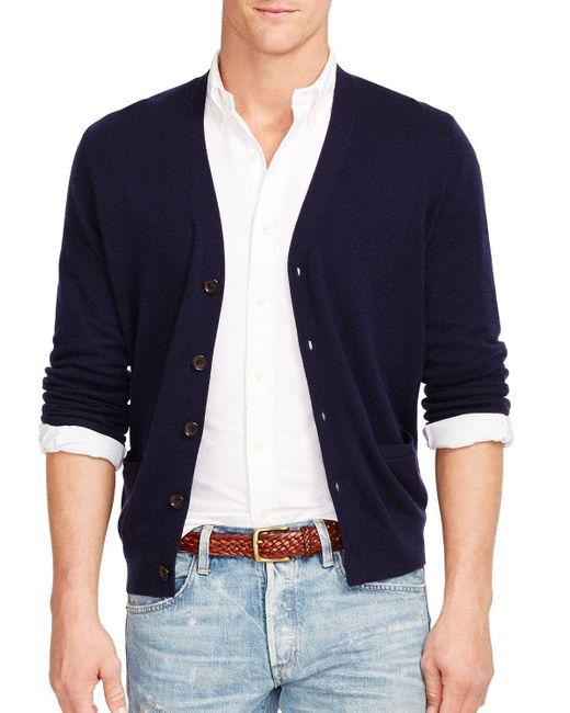 Polo Ralph Lauren | Blue Merino V-neck Cardigan for Men | Lyst