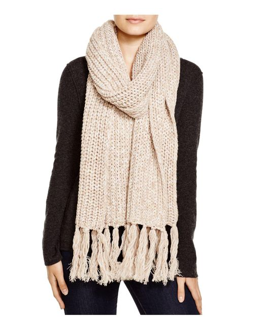 Aqua | Brown Chunky Knit Scarf With Fringe | Lyst