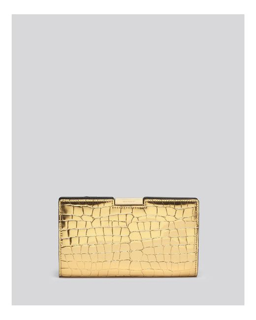 MILLY | Logan Metallic Embossed Small Frame Clutch | Lyst