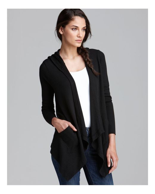 Splendid | Black Cardigan - Hooded Drapey Front Thermal | Lyst