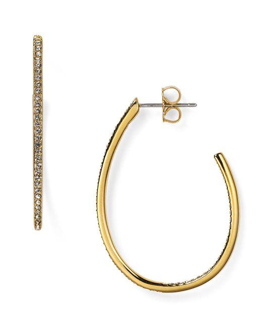 Nadri | Metallic Pavé Teardrop Hoop Earrings | Lyst