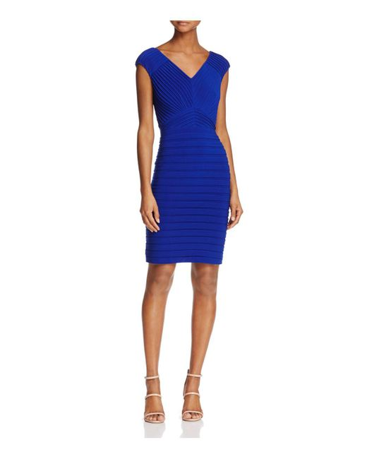 Adrianna Papell | Blue V-neck Banded Dress | Lyst
