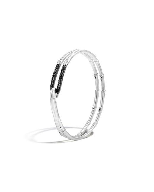 John Hardy | Bamboo Silver Lava Hook Bracelet With Black Sapphire | Lyst