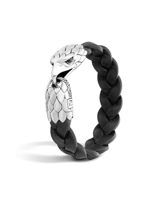 John Hardy   Classic Chain Silver Eagle Head Bracelet On Black Braided Leather With Black Chalcedony Eyes   Lyst