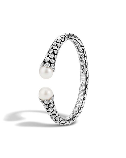 John Hardy   Metallic Dot Sterling Silver Diamond Pave Kick Cuff With Cultured Freshwater Pearls   Lyst