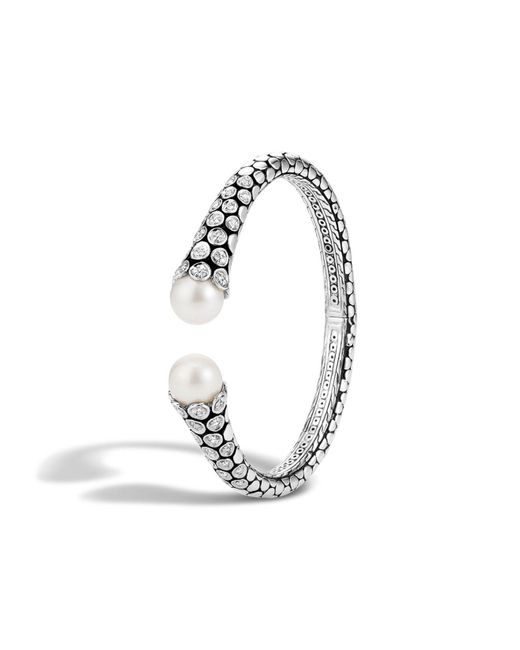 John Hardy | Metallic Dot Sterling Silver Diamond Pave Kick Cuff With Cultured Freshwater Pearls | Lyst