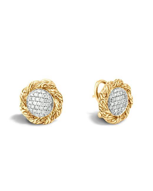 John Hardy   Metallic Classic Chain 18k Gold Diamond Pave Medium Stud Earrings   Lyst