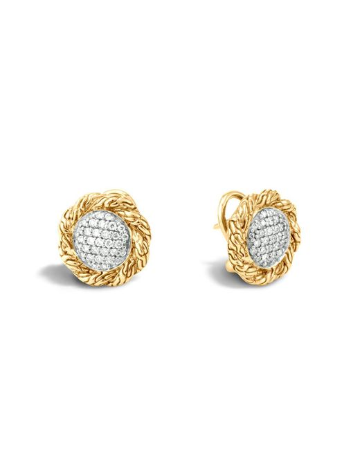 John Hardy | Metallic Classic Chain 18k Gold Diamond Pavé Medium Stud Earrings | Lyst