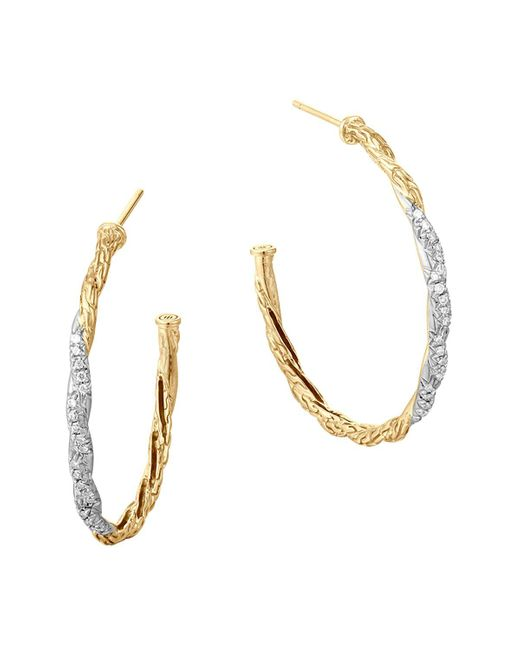 John Hardy | White Classic Chain 18k Gold Diamond Pavé Medium Hoop Earrings | Lyst