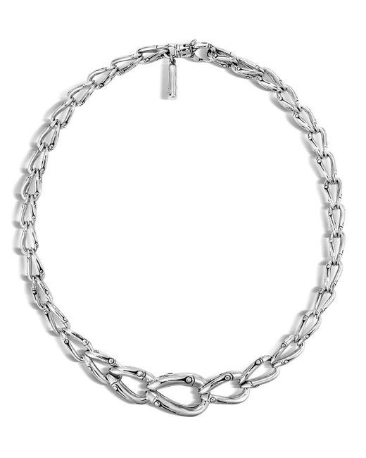"John Hardy | Metallic Bamboo Silver Necklace, 17"" | Lyst"