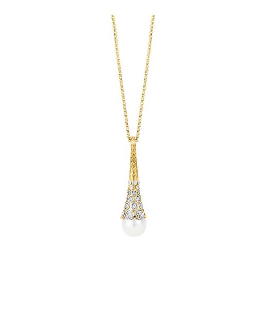 John Hardy | Metallic Dot 18k Yellow Gold Diamond Pave Long Drop Pendant Necklace With Cultured Freshwater Pearl, 16"