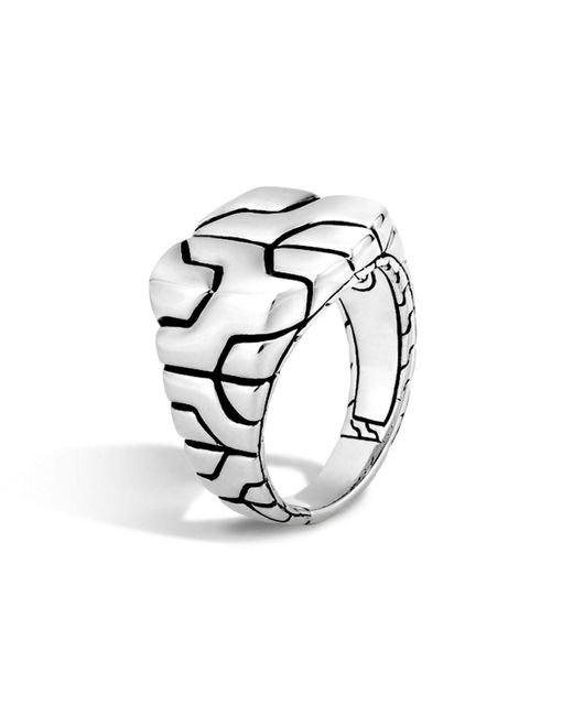 John Hardy | Metallic Classic Chain Sterling Silver Square Ring | Lyst
