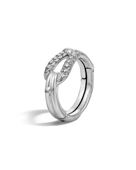 John Hardy | White Bamboo Silver Diamond Hook Ring | Lyst