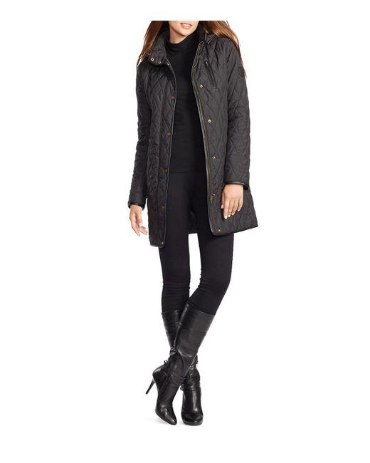 Ralph Lauren | Black Lauren Quilted Faux Leather Trim Jacket | Lyst
