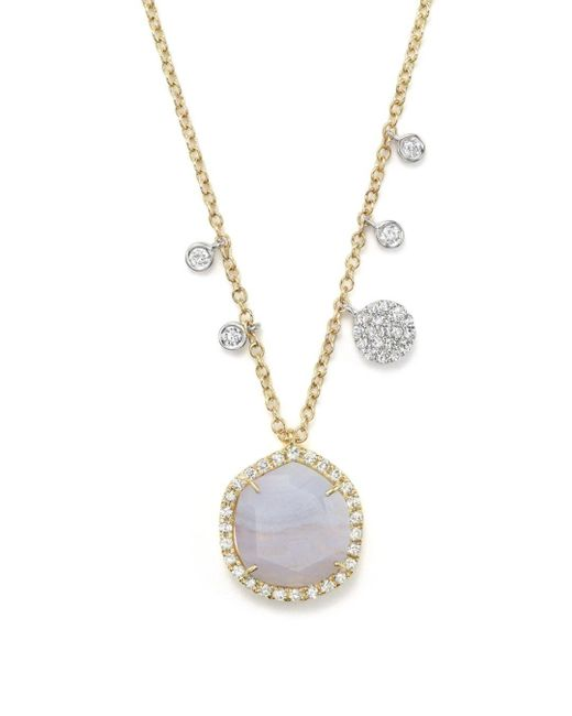 Meira T White 14k Yellow Gold Blue Lace Chalcedony Necklace