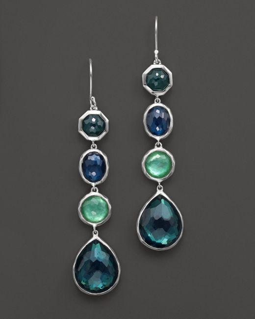 Ippolita | Metallic Rock Candy Sterling Silver 4 Stone Drop Earrings In Neptune | Lyst