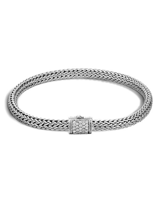 John Hardy | Metallic Classic Chain Sterling Silver Extra Small Bracelet With Diamond Pave | Lyst